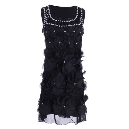 Womens Classic Flapper Floral Flower Gemstone Studded Sleeveless Dress (Black Beaded Flapper Dress)