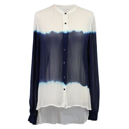Ujena Sheer Double Dip (Patrons Of Peace Blue And White Dip Dye Button Up Long Sleeve Sheer Blouse )