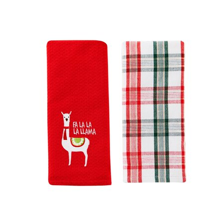 SKL HOME Fa La Llama Red Waffle Design Embroidery 2-Piece Dish Towel Set - 16x26