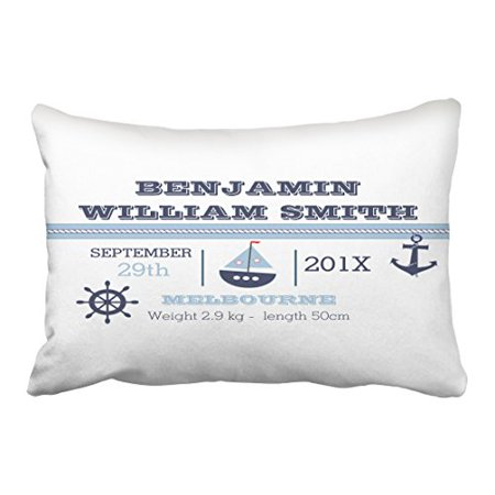 WinHome Rectangl Throw Pillow Covers Retro Vintage Nautical Birth Announcement Customizable Pillowcases Polyester 20 x 30 Inch With Hidden Zipper Home Sofa Cushion Decorative - Retro Birth Announcements