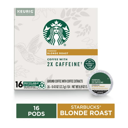 Starbucks Blonde Roast Coffee K-Cups with 2X Caffeine | for Keurig Brewers | 16 K-Cup Pods