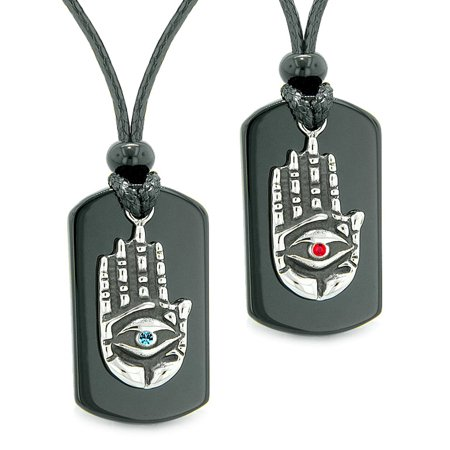 All Seeing Feeling Buddha Eye Hamsa Hand Love Couple Best Friend Agate Tag Red Sky Blue Crystal Necklaces (Hand Of Buddha Jewelry)