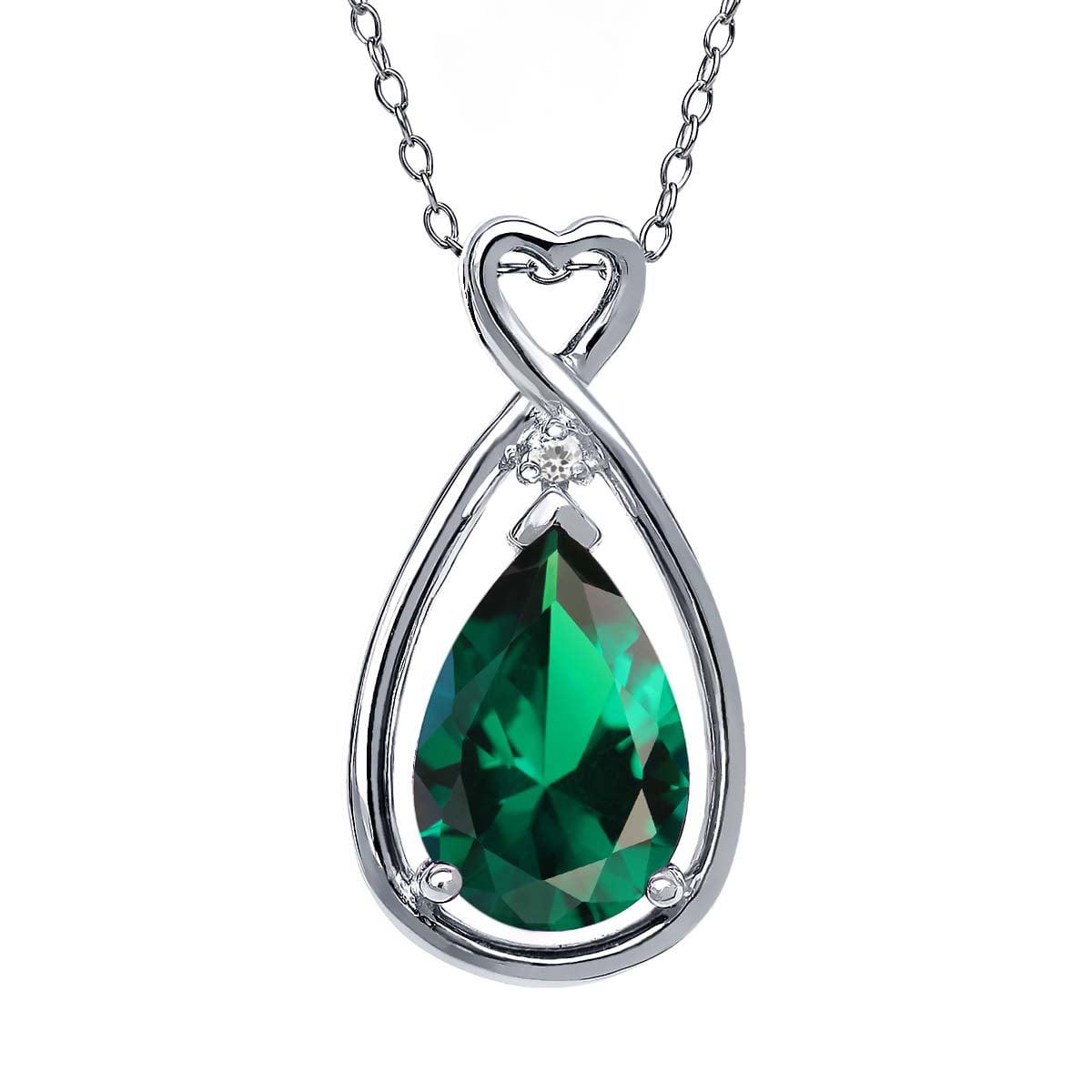 2.45 Ct Pear Shape Green Simulated Emerald White Sapphire 18K White Gold Pendant