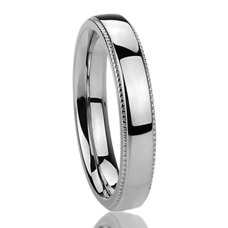 Women's Stainless Steel 4mm Wedding Band Ring Milgrain Edges Domed Classy Ring (5 to 12) Classy Design Wedding Band Ring