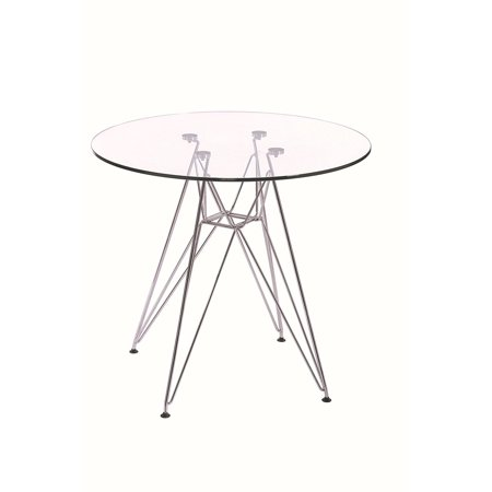 Modern Style Dining Table with Chromed Leg and Tempered Glass Top 47