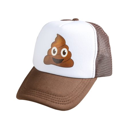 Funny Costume Hats (Adults Funny Emoji Emoticon Poop Trucker Hat Costume)