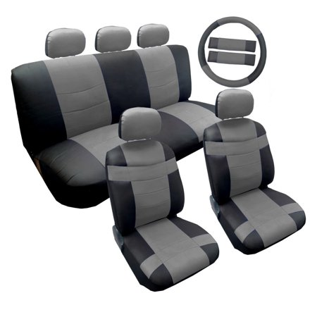 Two Tone Premium Gray On Black Syntheticther Seat Cover Set 14Pc For Honda Civic