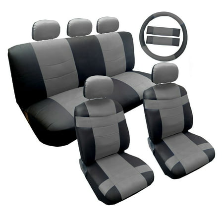 Two Tone Premium Gray On Black Syntheticleather Seat Cover Set 14Pc For Kia Soul