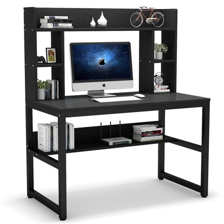 Tribesigns Computer Desk with Hutch, Modern Writing Desk with Storage Shelves, Compact Office Desk Study Table Workstation for Home Office, Black + Black Legs Studio Writing Desk
