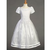 Girls Satin Ribbon Tulle Overlay First Communion Dress 7-16.5