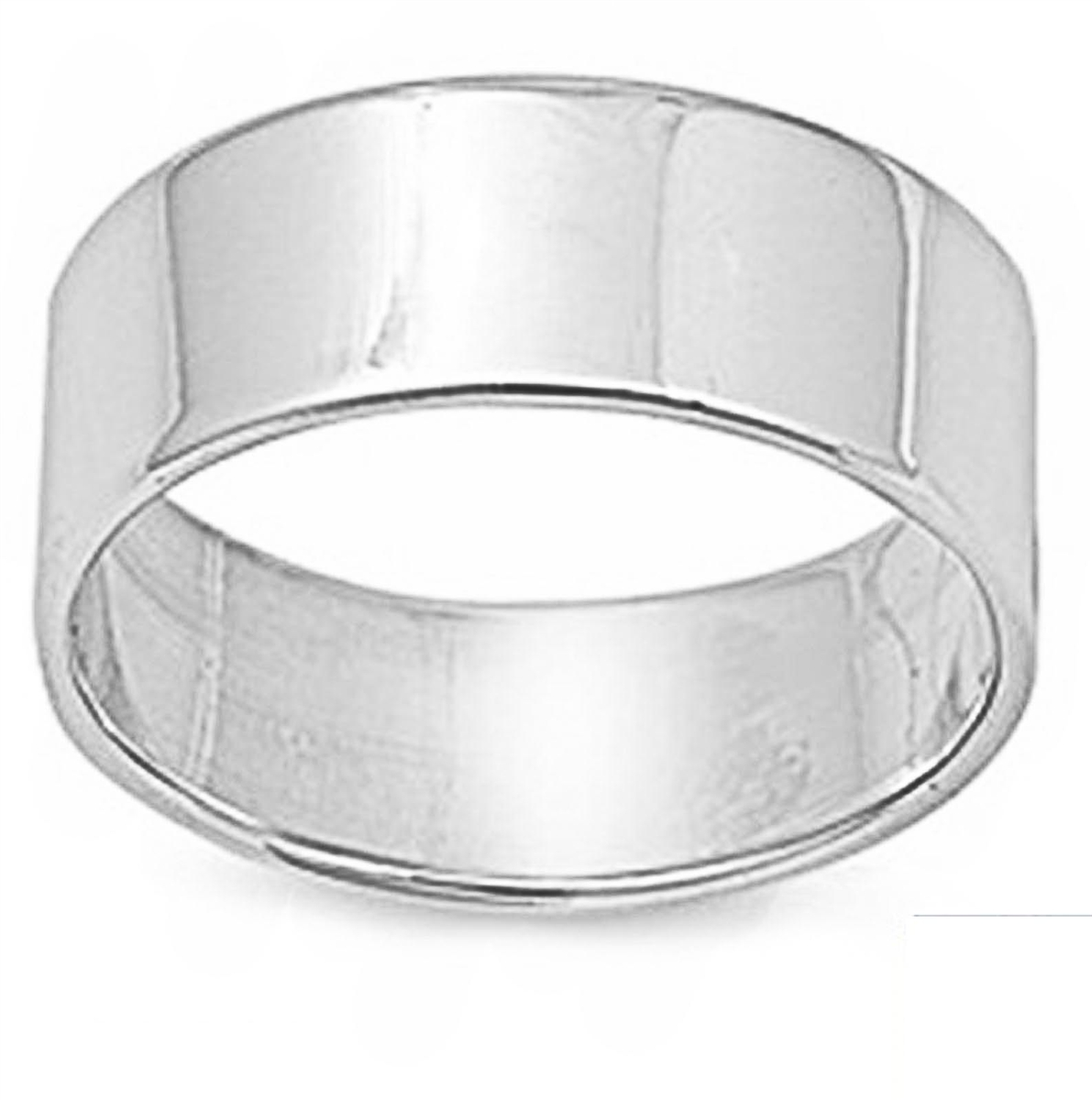 Flat Plain Solid Wedding Band 8 MM .925 Sterling Silver Ring Sizes 5-14