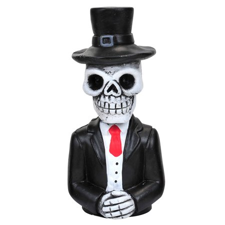 Mantels Decorated For Halloween (Day of the Dead Skeleton Black Top Hat Resin Figure 6