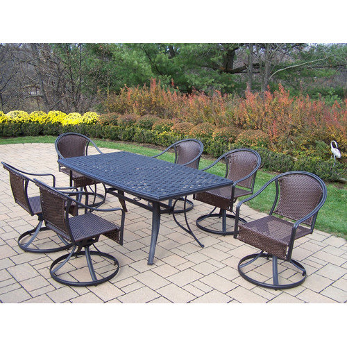 Oakland Living Cascade 7pc Swivel Dining Set with Boat Shape Table - Black