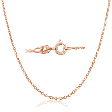 Cable Chain Necklace Sterling Silver Italian 1.3mm Rose Gold Plated Nickel Free 18 inch Aqua Master Rose Gold Necklace