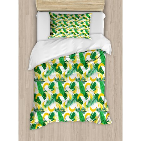 2 Piece Tropical Leaf (Island Twin Size Duvet Cover Set, Pattern with Hand Drawn Cartoon Style Banana Fruits and Green Leaves Tropical Jungle, Decorative 2 Piece Bedding Set with 1 Pillow Sham, Multicolor, by)