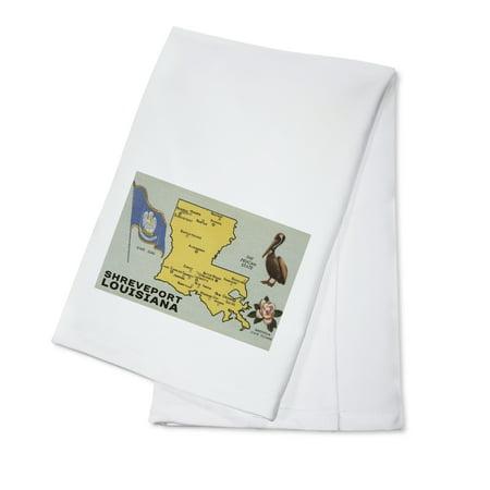 Shreveport, Louisiana - Detailed Map of State - Lantern Press Artwork (100% Cotton Kitchen Towel)