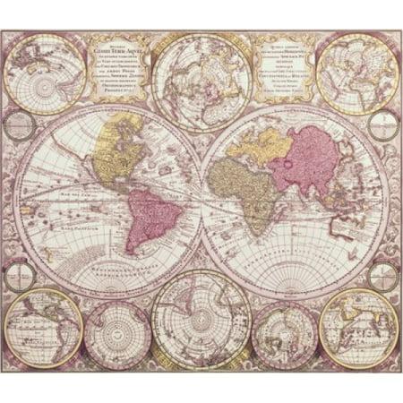 The World C 1750 Maps Stretched Canvas 18 X 24 Walmart Com
