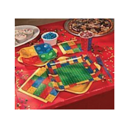 Building Block Lego-Type Party for 8: Plates, Napkins, Cups, Banner, Tablecloth ()