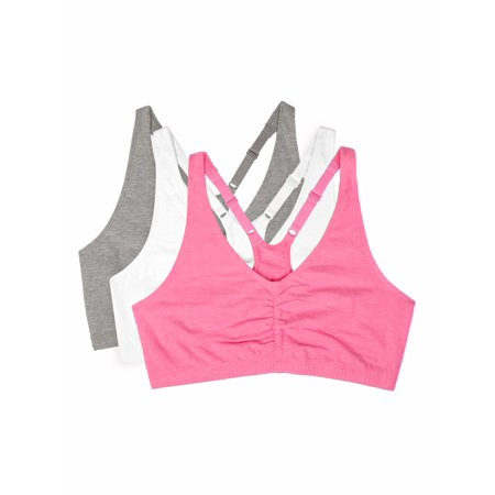 Sport Style Car Bra - Women's Shirred Front Racerback Sports Bra, Style 90011, 3-Pack