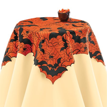 Halloween Applique Bats and Spiders Table Runner / Topper, Indoor Halloween Decoration, Square