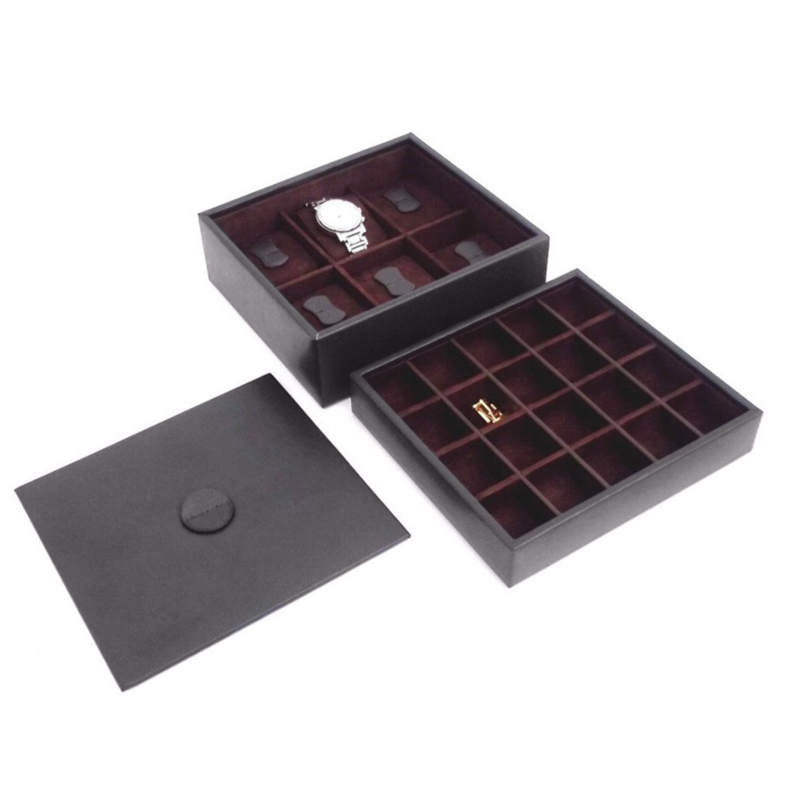 Brown Leather 6-Watch / 20-Cufflink Box with Lid - 8.5W x 4.75H in.