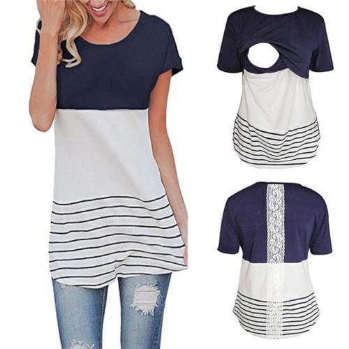Women V-neck Pregnant T-Shirt Maternity Tops Nursing Shirt Breastfeeding Clothes