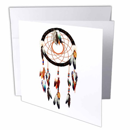 3Drose Native American Inspired Dream Catcher Design  Colorful Feathers And Beads   Greeting Cards  6 X 6 Inches  Set Of 12