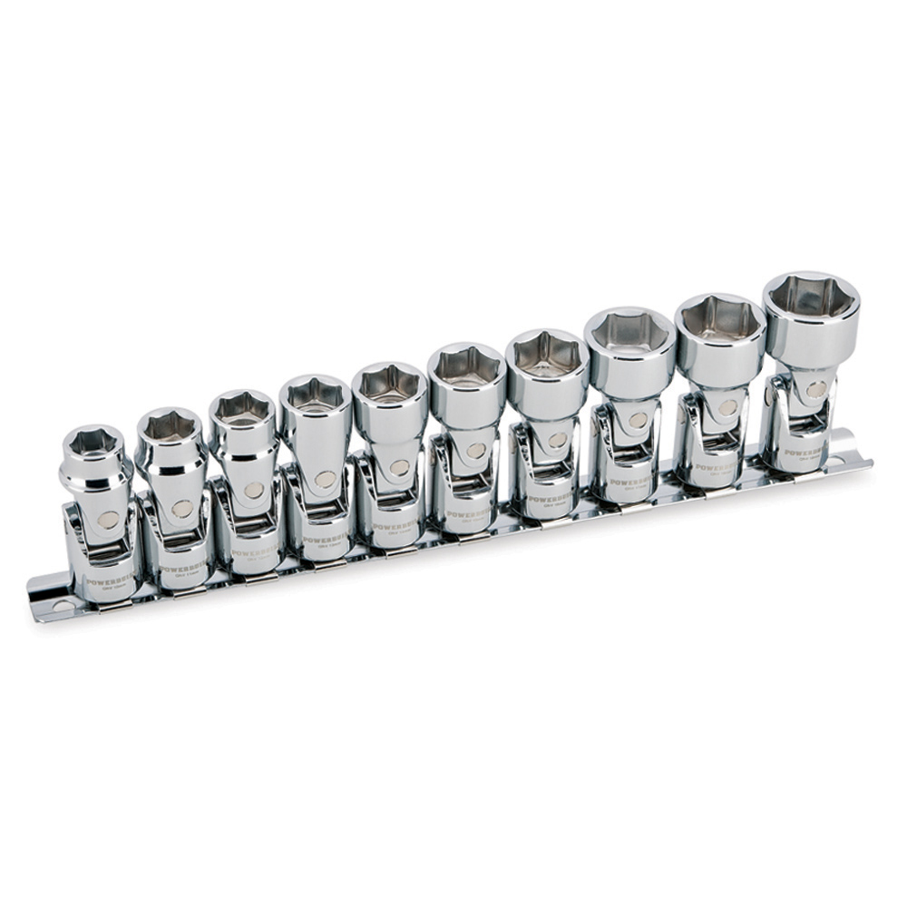 Powerbuilt 10 Piece 3/8-Inch Drive Metric Universal Joint Socket Set, 6 Point