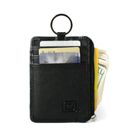 RFID Wallet Key Ring Mini - Protective Wallet for Credit Cards - RFID Blocking Leather Wallets - Minimalist Wallet -