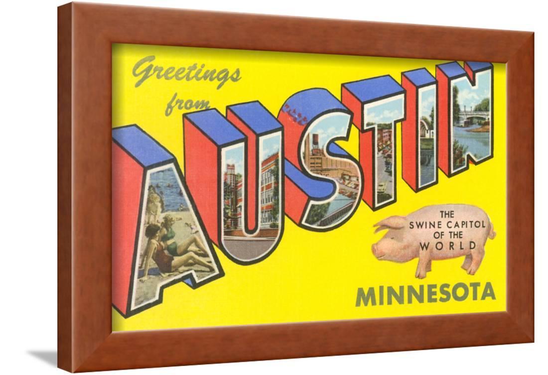 Greetings from Austin, Minnesota Framed Art Print Wall Art - Walmart.com