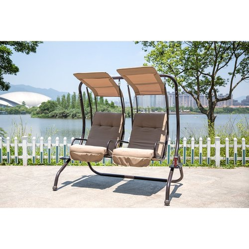 Red Barrel Studio Flaugher Converting Cushion Covered Patio Porch Swing  With Stand