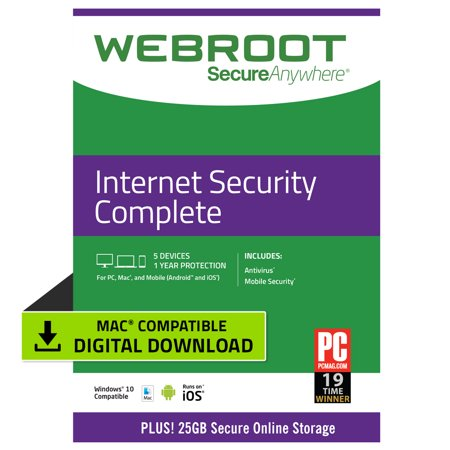 Webroot Internet Security Complete + Antivirus | 5 Devices | 1 Year | Mac