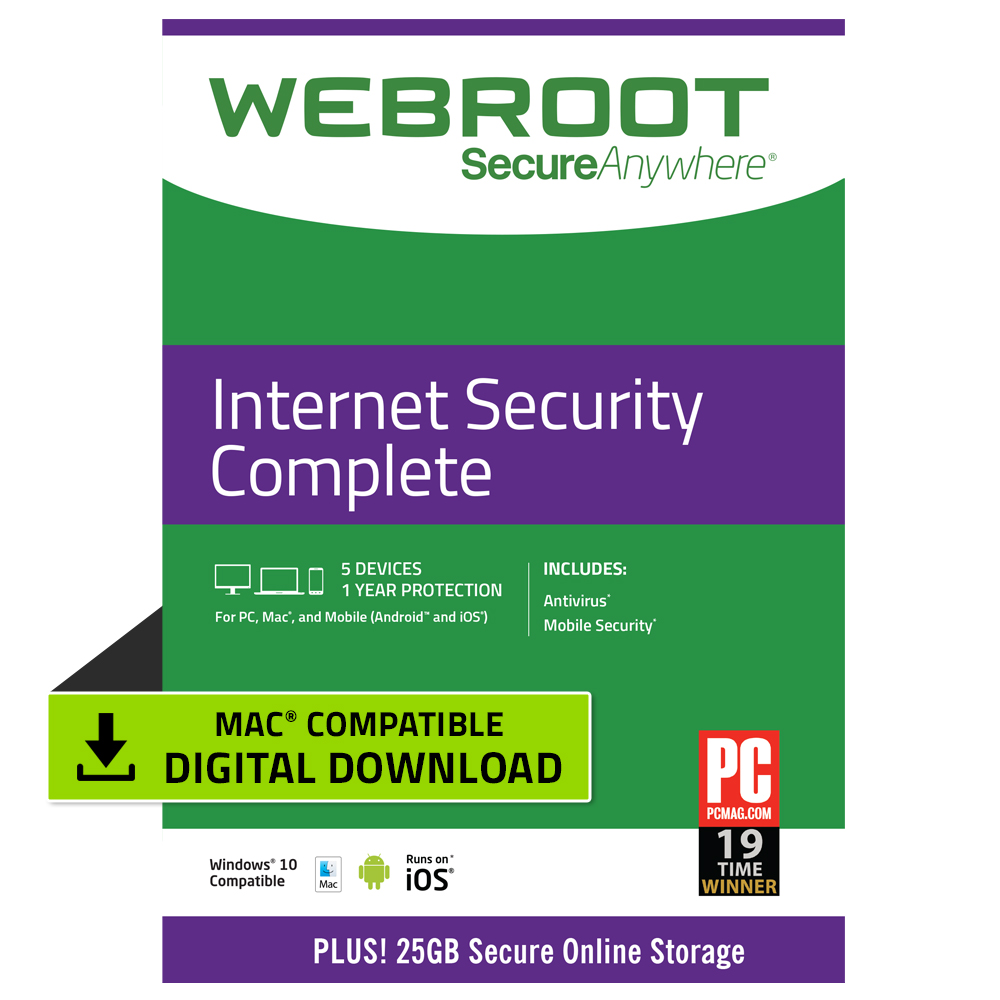 Webroot Internet Security Complete + Antivirus | 5 Devices | 1 Year | Mac Download