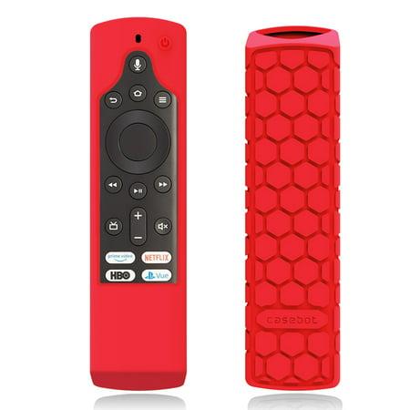 Fintie Silicone Case for Fire TV Edition Toshiba 4K Smart TV Voice Remote / Element Smart TV Voice Remote, Red