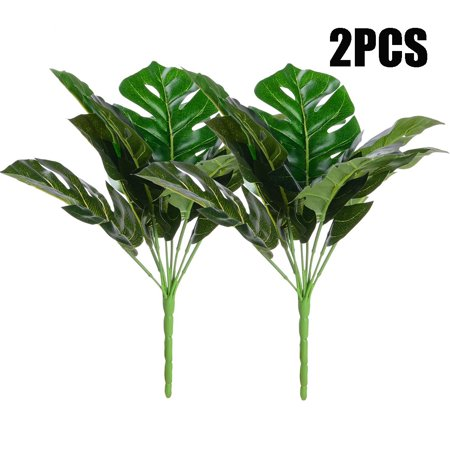 OHSAY USA 2 Bunches Artificial Palm Leaf Green Artificial Plants Plastic Fake Leaf Natural Art Decorative Plants for Indoor Living Room Bedroom Outdoor Garden Yard Wedding Party Decor