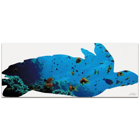Metal Art Studio Wildlife Sea Turtle Seascape   Contemporary Animal Silhouette by Adam Schwoeppe Graphic Art Plaque