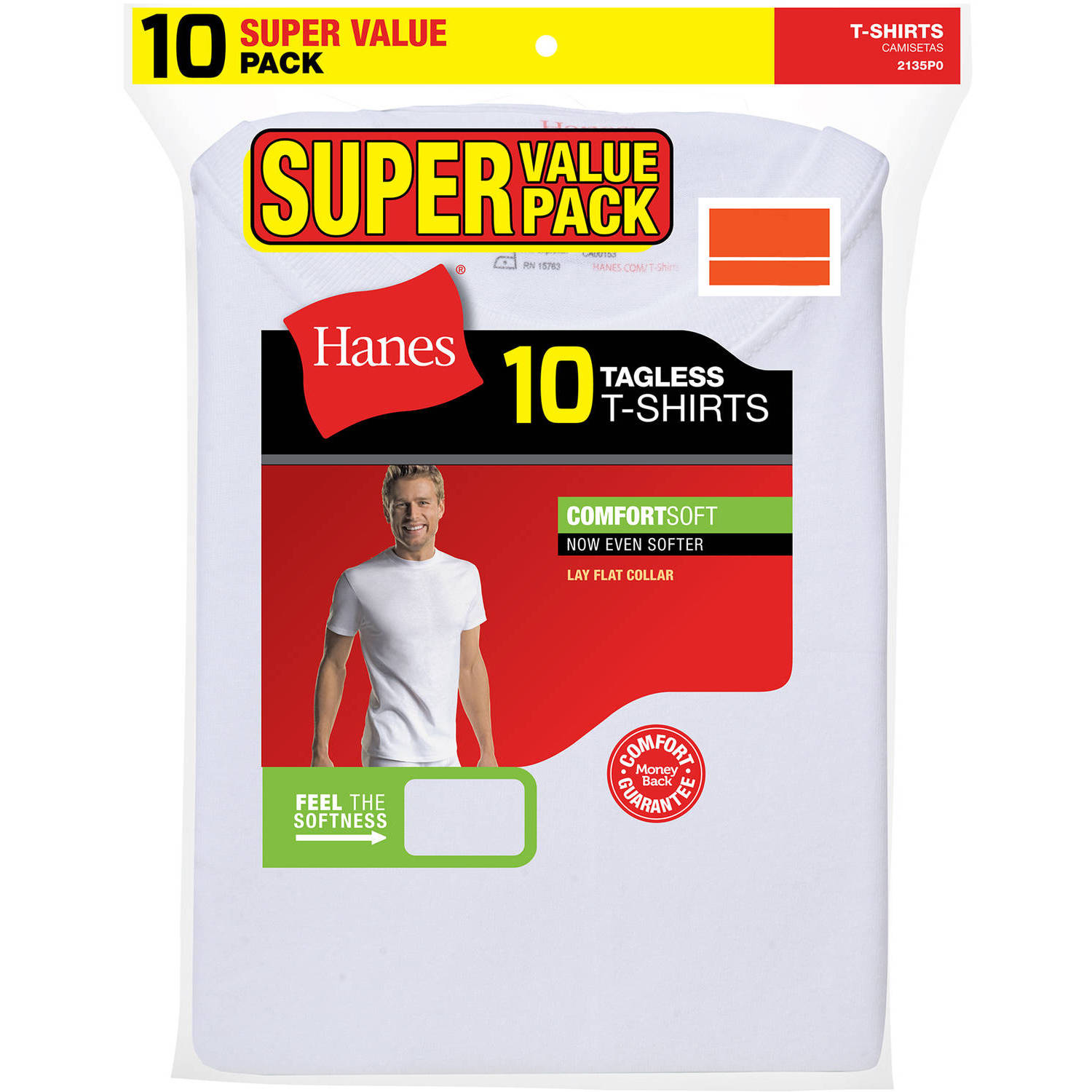 Hanes Mens ComfortSoft White Crew Neck T-Shirt SUPER VALUE 10-Pack