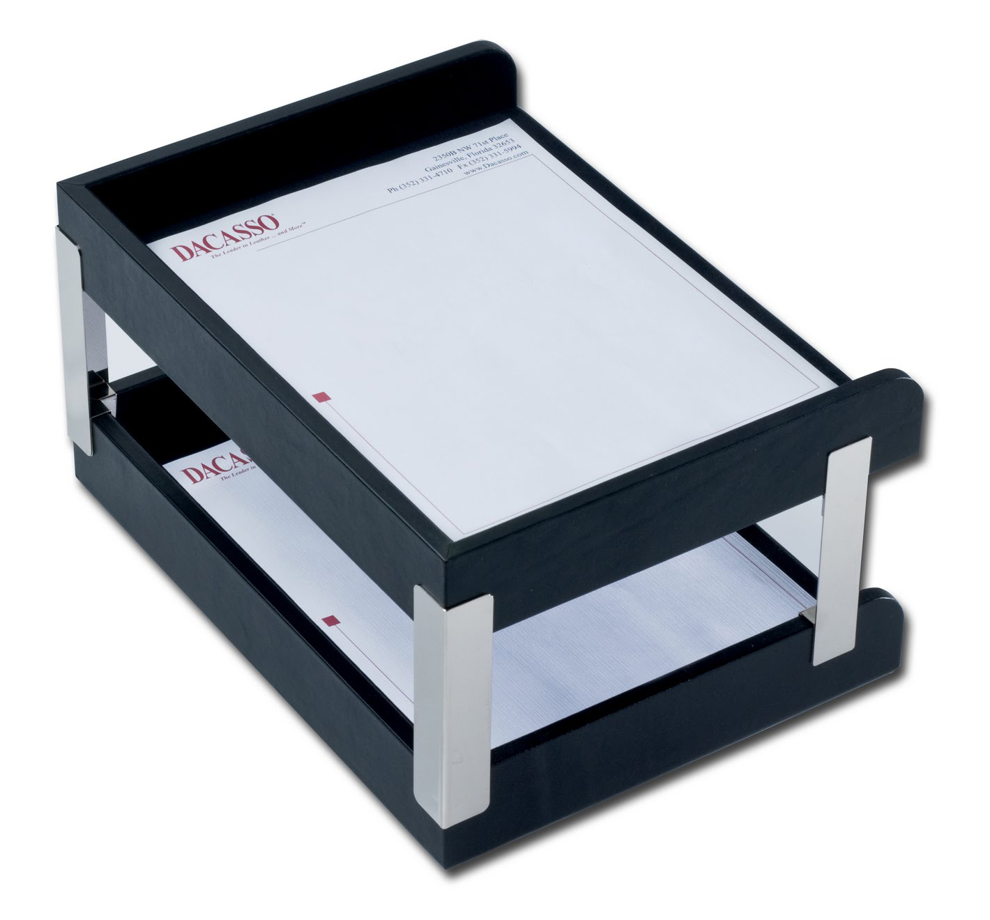 Classic Black Leather Double Side-Load Letter Trays with Silver Posts by Dacasso