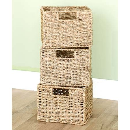 Wooden Bathroom Spacesavers or Baskets-Set of 3 Seagrass Baskets