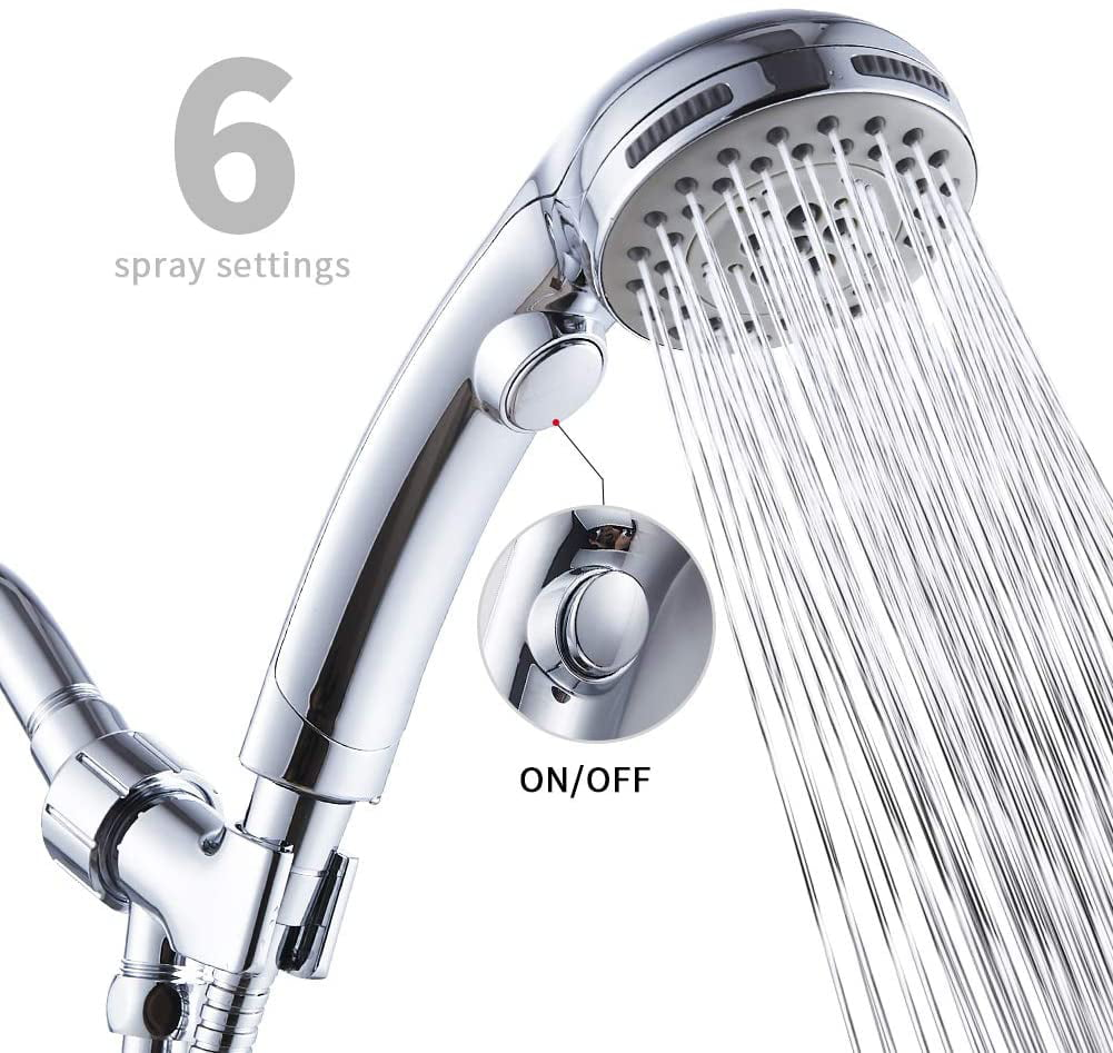 High Pressure Handheld Shower Head 3 Function Chrome Finish with Spa Spray Mode