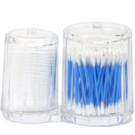 MODERN FACETED ACRYLIC COMBINED COTTON PAD AND Q-TIP HOLDER