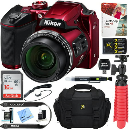 Nikon COOLPIX B500 16MP 40x Optical Zoom Digital Camera w/ Built-in Wi-Fi NFC & Bluetooth (Red) + 16GB SDHC Accessory Bundle