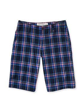 Aeropostale Mens Plaid Flat-Front Casual Bermuda Shorts, Blue, 27