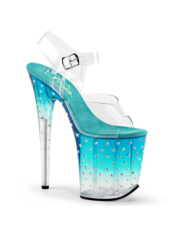 STDUS808T/C/TL-C Pleaser Platforms Specialty Collection Size: 10 Clr/Teal-Clr