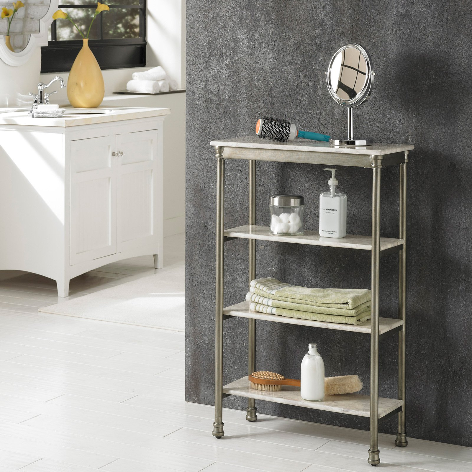 Home Styles The Orleans 4-Tier Shelf, White/Silver