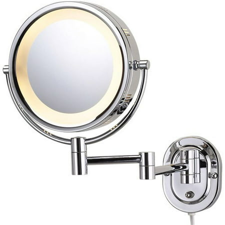 Jerdon HL65C 8-Inch Two-Sided Swivel Halo Lighted Wall Mount Mirror with 5x Magnification, 14-Inch Extension, Chrome Finish Chrome Wall Mount Mirror