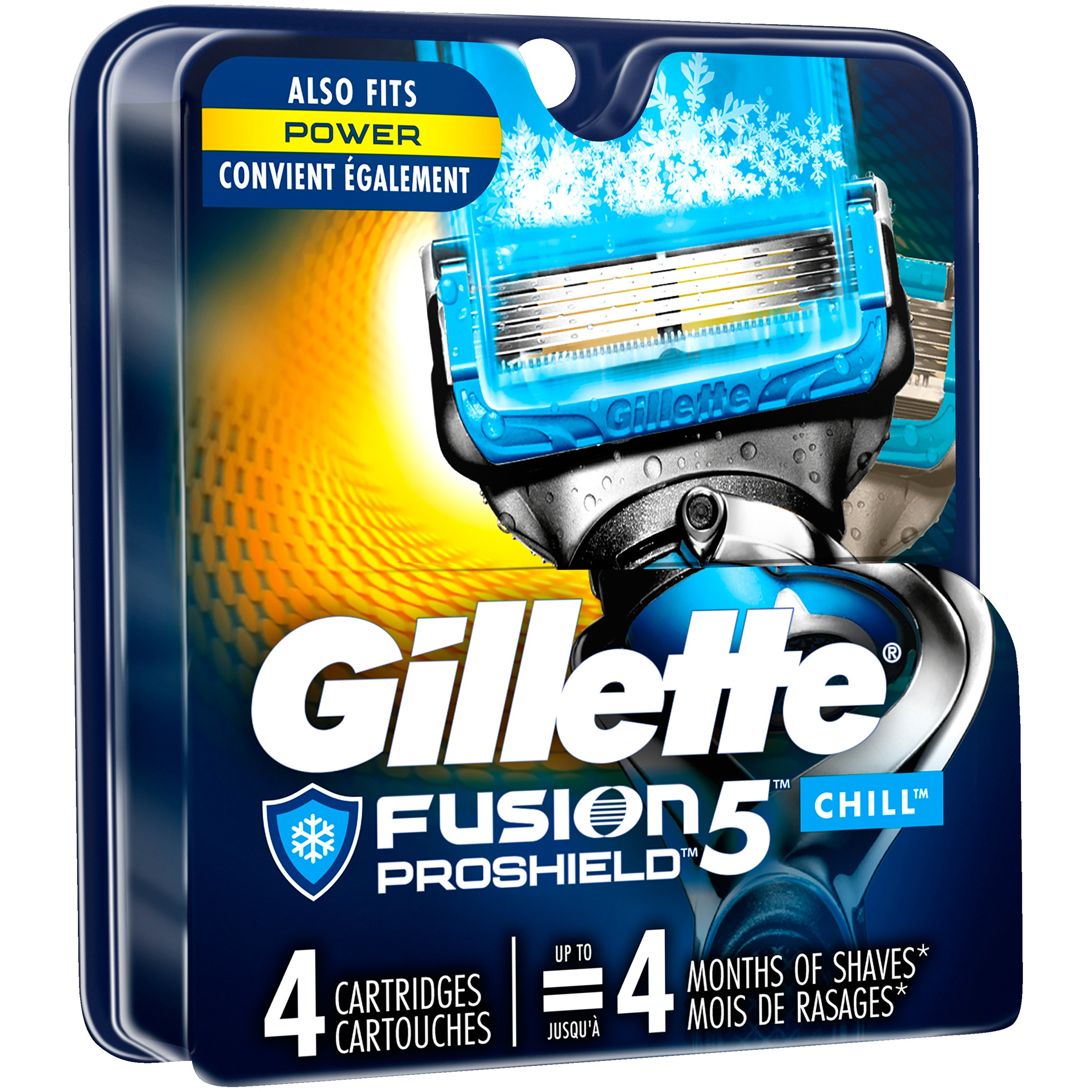 Gillette® Fusion5™ ProShield™ Chill™ Razor Cartridges 4 ct Carded Pack
