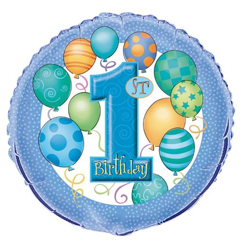 1st Birthday 'Balloons' Foil Mylar Balloon (1ct)