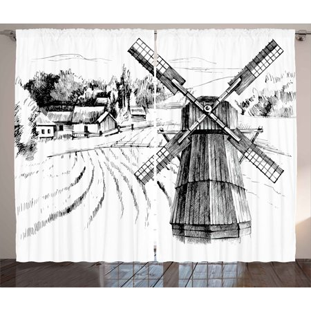 Landscape Curtains 2 Panels Set, Hand Drawn Rural Scenery Small Town Farm Houses Forest and Mill Romantic Sketch, Window Drapes for Living Room Bedroom, 108W X 63L Inches, Black White, by Ambesonne ()
