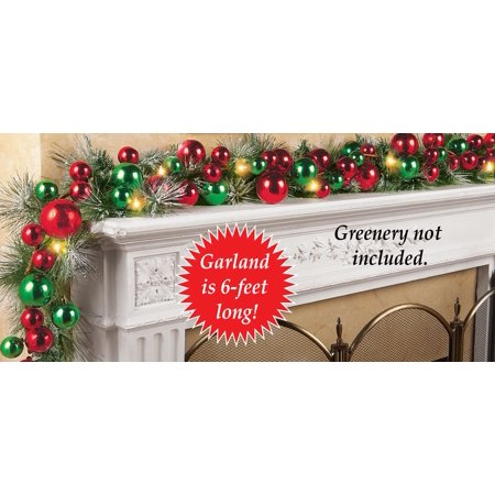Lighted Colorful Ornament Wreath Garland, Red And Green ()
